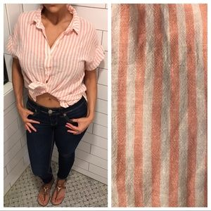 Sanctuary Mod Boyfriend Shirt Peach Stripe XL